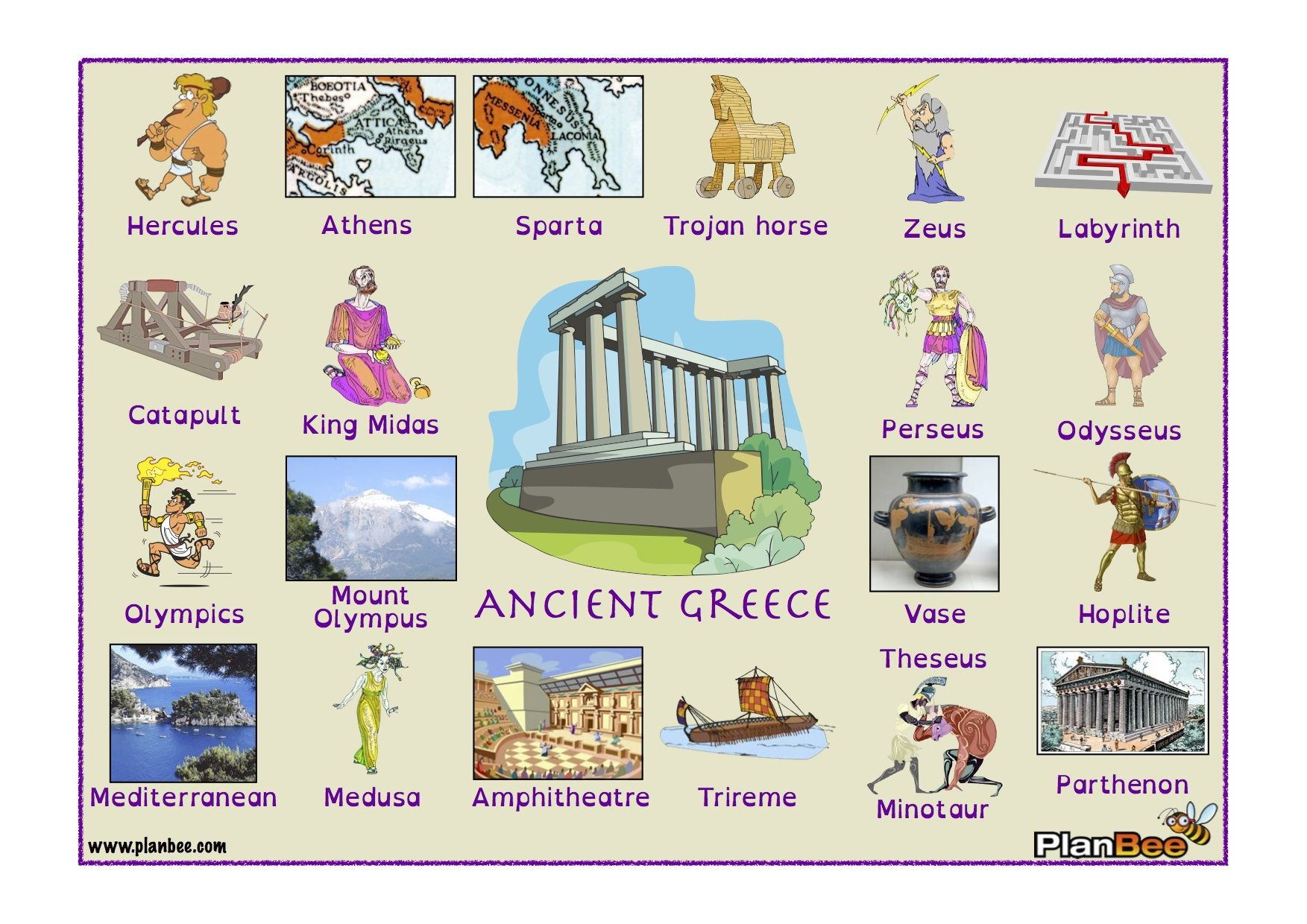 Ancient Greece Word Bank With Images