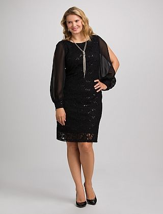Plus Size Sequined Lace Cold-Shoulder Dress | Dressbarn | Le Style ...