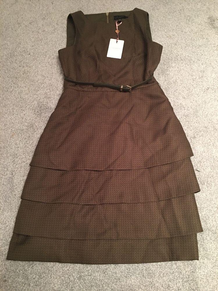 82ddf92fc Ted Baker Womens Dress Olive Smart Dress With Belt Ted Size 2 Uk 10  fashion