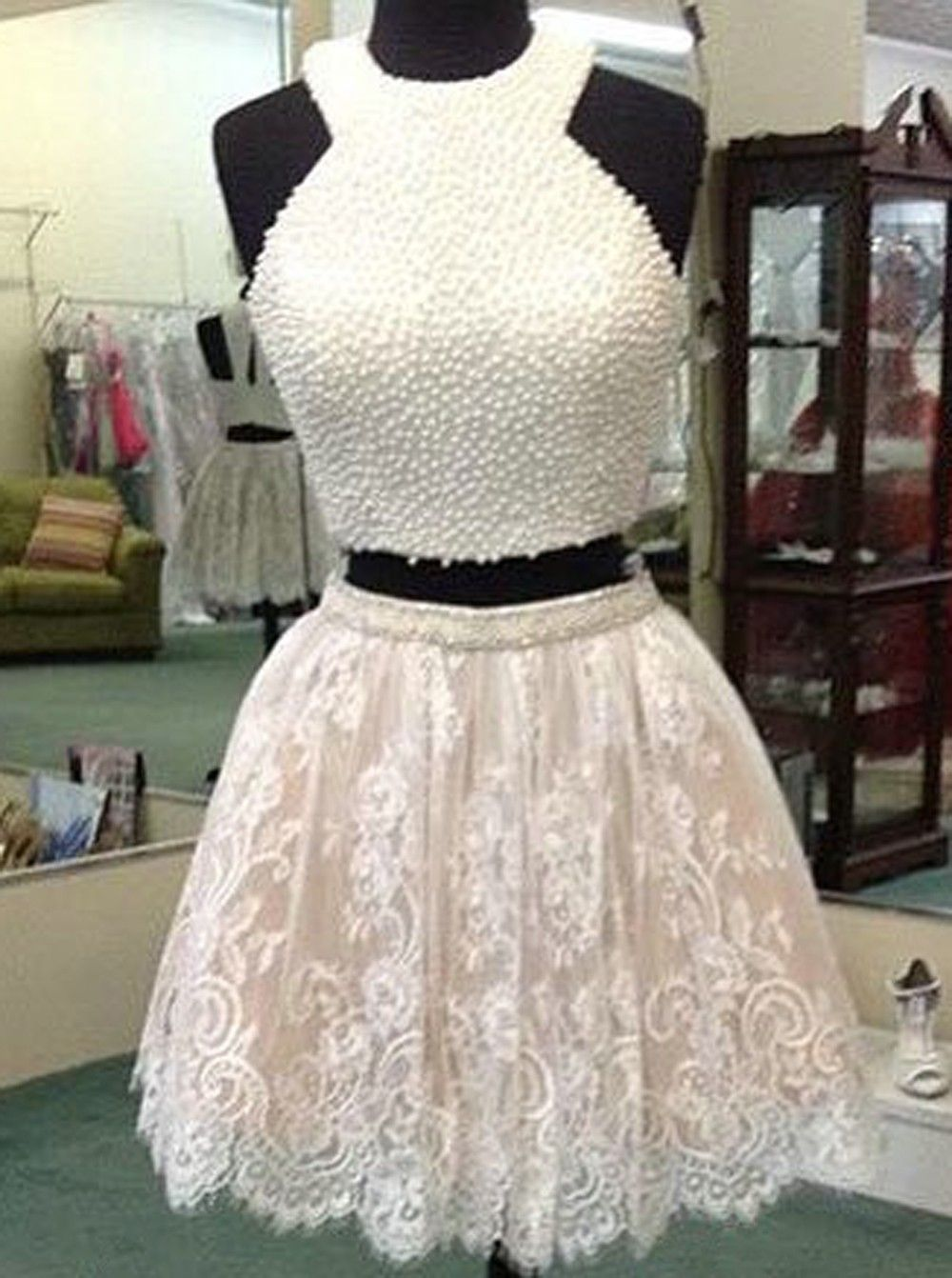 Two Piece Crew Pear Lace Short White Homecoming Prom Dress with Appliques