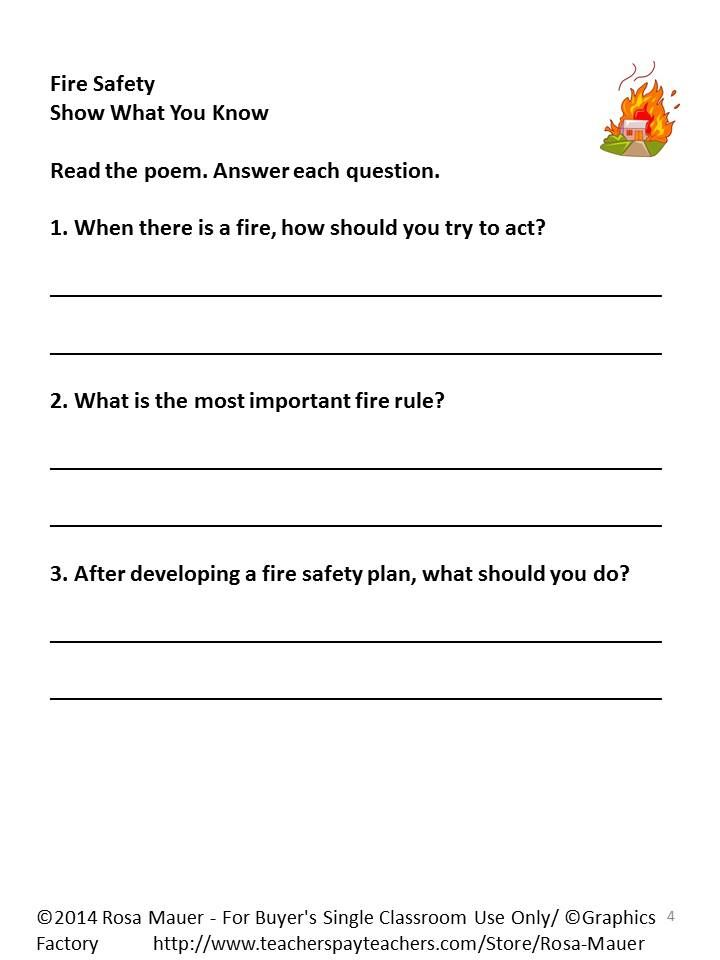 Fire Safety Poem And Worksheets Activities For Kids Fire