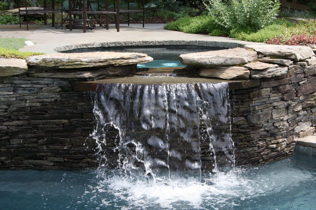 inground pools with waterfalls and hot tubs. Water Feature Hot Tub Into Swimming Pool In Orange County, NY: Spills An Ground Warwick, Inground Pools With Waterfalls And Tubs 0