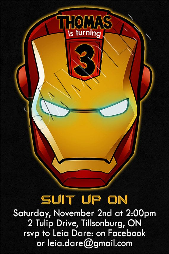 IRON MAN Birthday Invitation Custom Digital by FinalTouchesArtwork ...