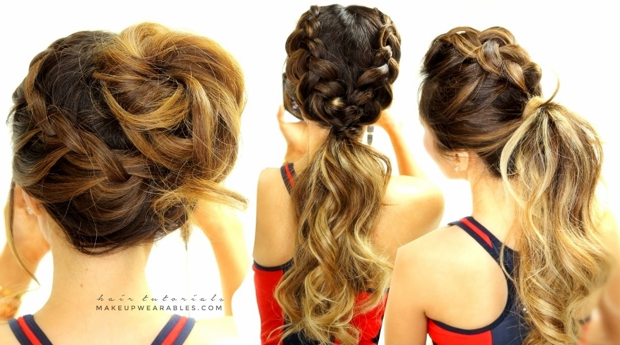 Everyday braided hairstyles for sports messy bun updo ponytail