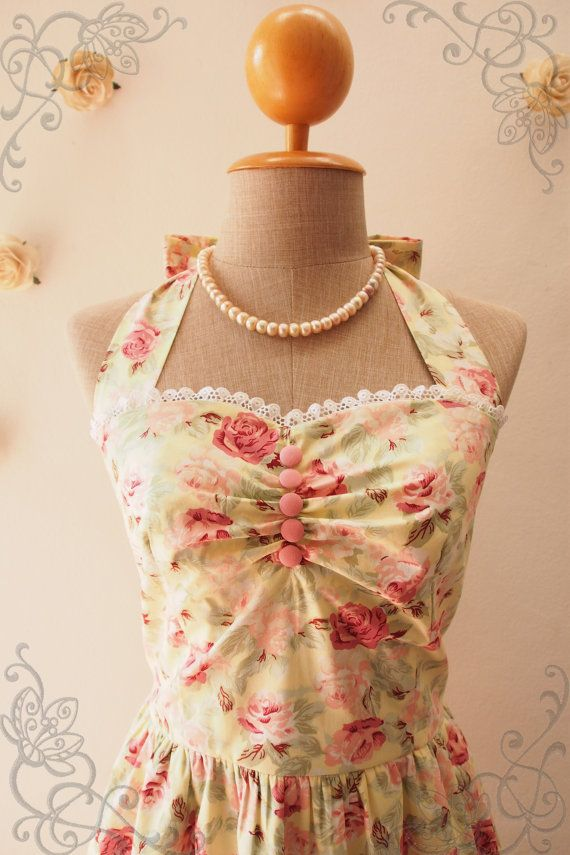 Once Upon a Time Yellow Floral Dress Pastel Yellow by Amordress