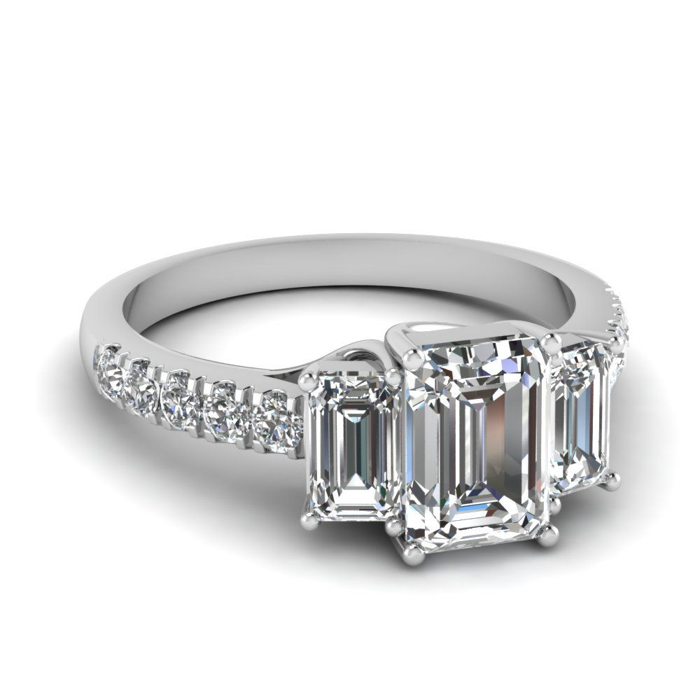 3.00 CTW Emerald Cut Solitaire Wedding Engagement Ring Set In 14k White Gold