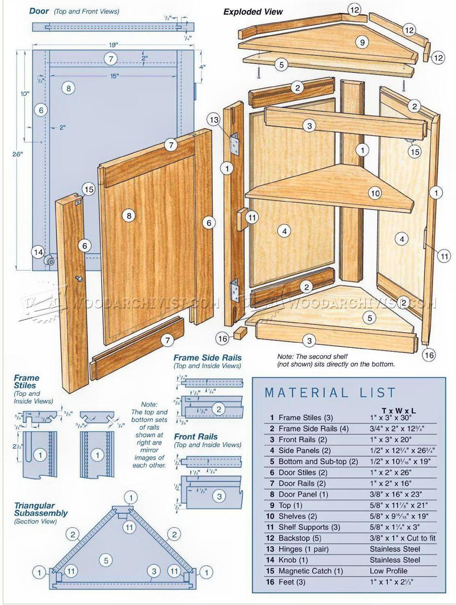 corner cabinet plans furniture plans a projects woodworking rh pinterest com
