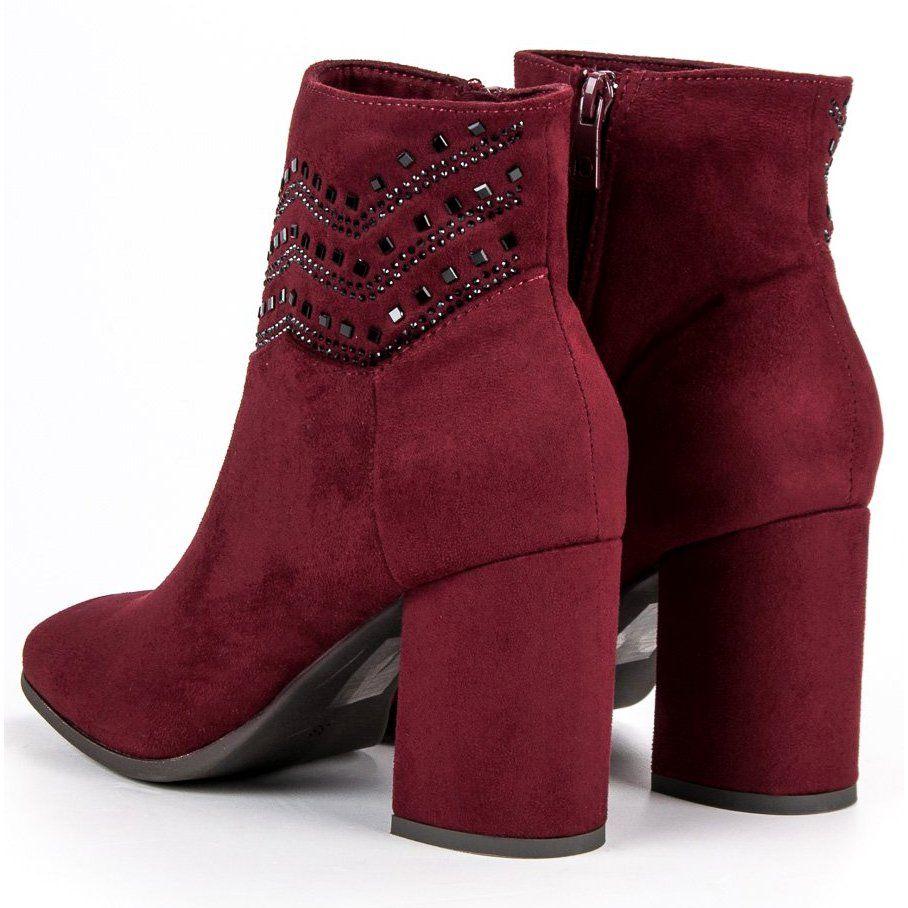 Kylie Eleganckie Bordowe Botki Wielokolorowe Czerwone Burgundy Boots Boots Boot Shoes Women