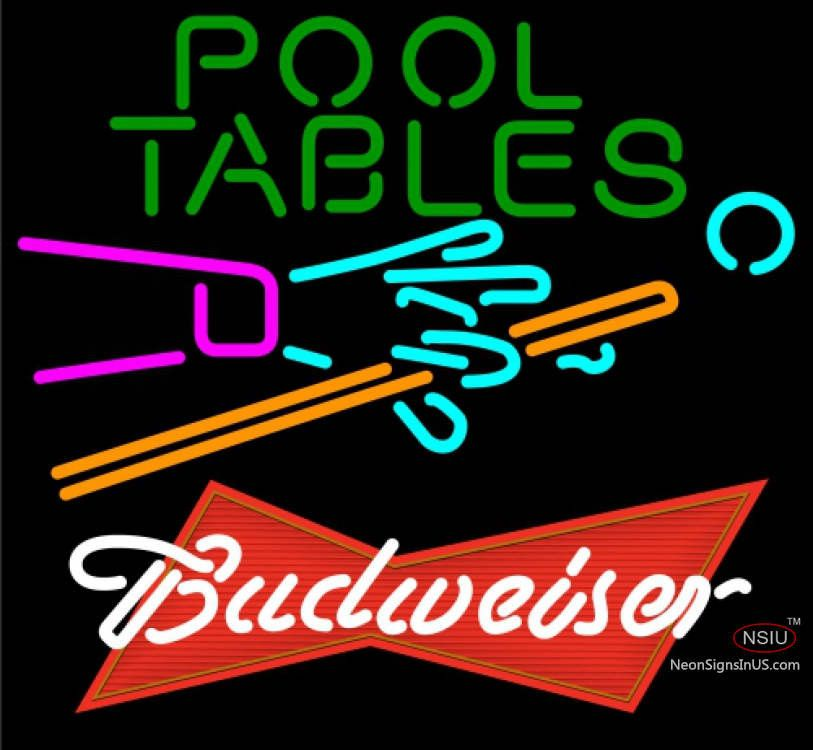 Budweiser Red Pool Tables Billiards Real Neon Glass Tube Neon  Sign,Affordable And Durable,