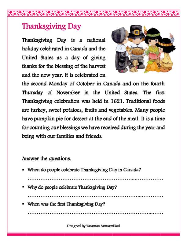 Thanksgiving Day, Reading Thanksgiving Worksheets, Thanksgiving Readings, Thanksgiving  Reading Comprehension