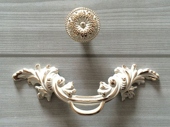 "2 5"" Shabby Chic Dresser Pull Drawer Pulls Handles White Gold Rustic Kitchen Cabinet Handle Door"