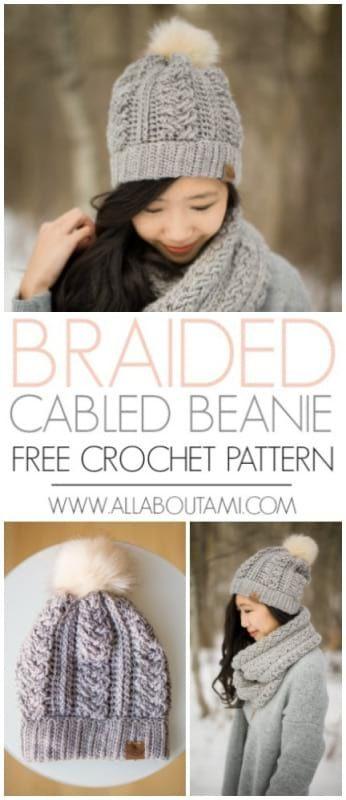 Braided Cabled Slouchy Beanie | Tejido y Ganchillo
