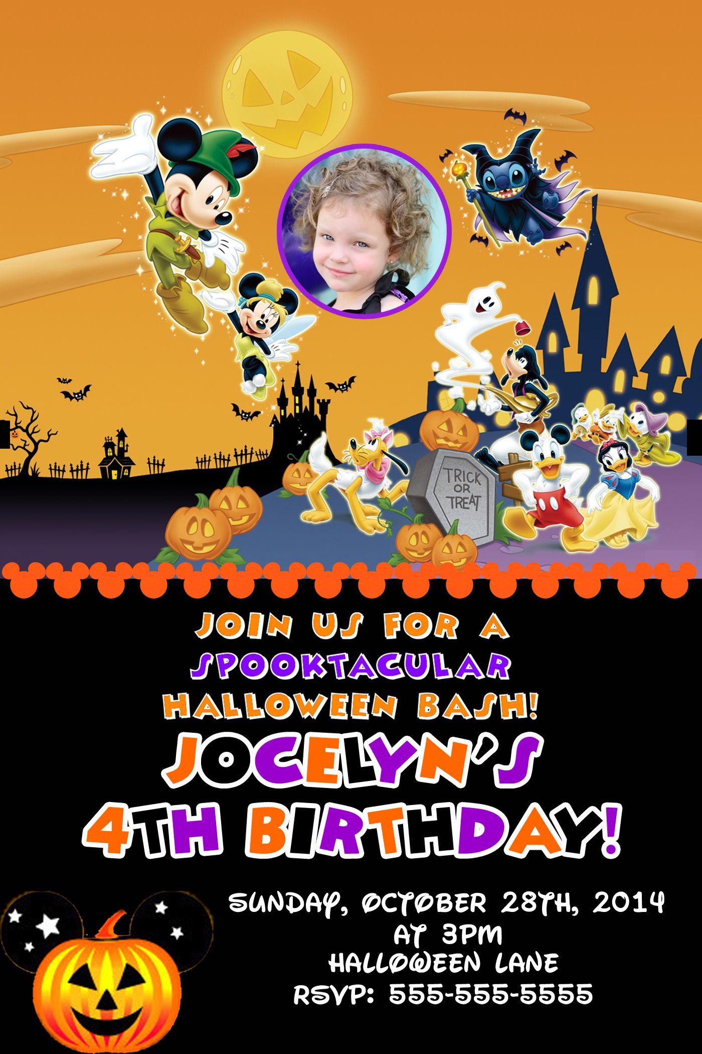 Mickey Mouse Halloween Birthday Invitations 8