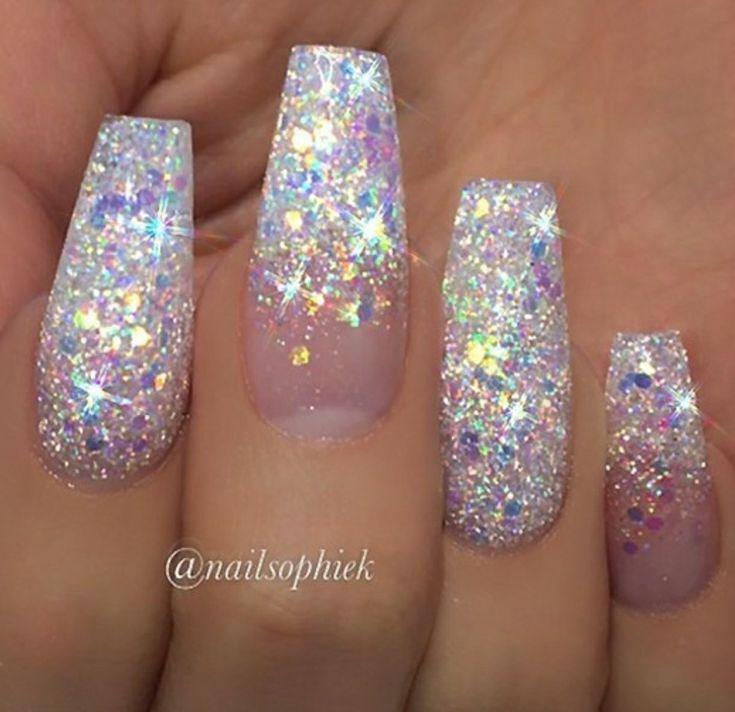 Ballerina-Nägel Glitzer-Nägel Ombre Nägel. Acrylnägel #glittereyeliner