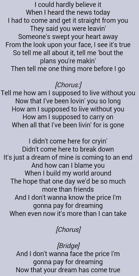 Michael Bolton How Am I Supposed To Live Without You Great Song Lyrics Uplifting Songs Music Lyrics