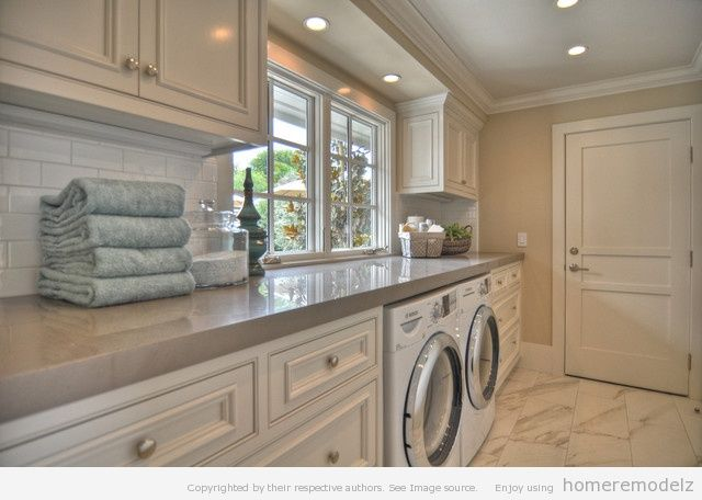 Creative design and paint color laundry room ideas Monochromatic