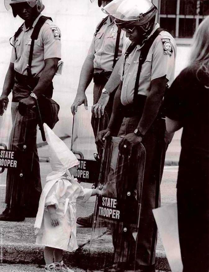 A KKK child and a black State Trooper meet each other, 1992.