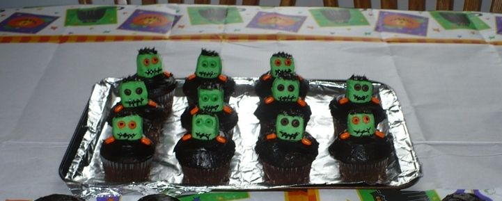 Monster Cupcakes I made for my son and his friends' Halloween Party