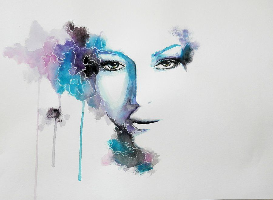 Watercolor Surrealistic Eyes Portrait By Irsart Deviantart Com On