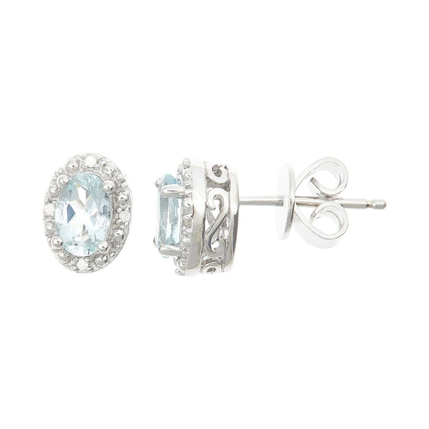 e21cced6b57 Sterling Silver Aquamarine & Diamond Accent Oval Halo Stud Earrings ...
