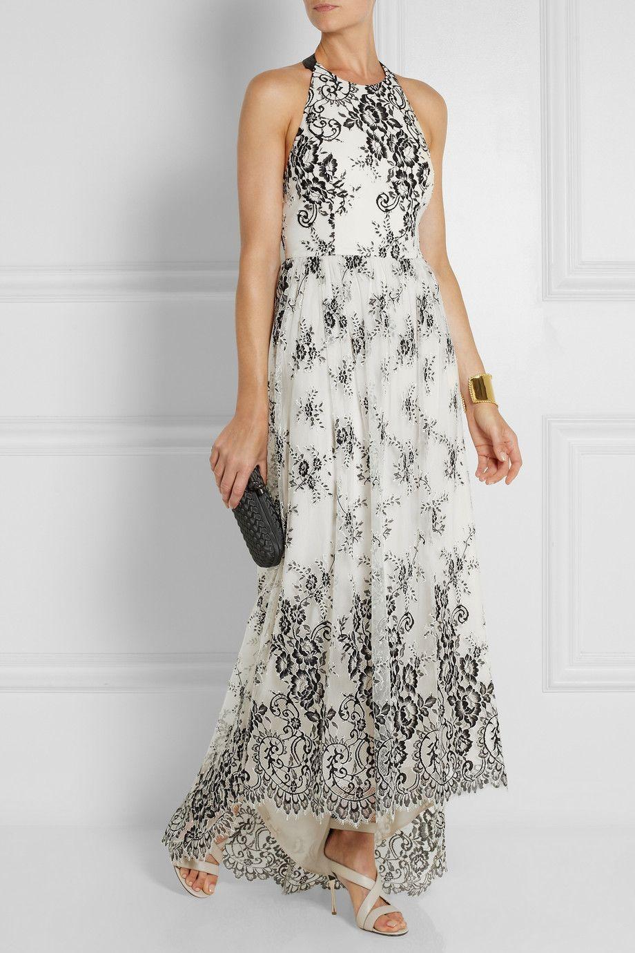 Alice olivia isla embroidered tulle maxi dress netaporter