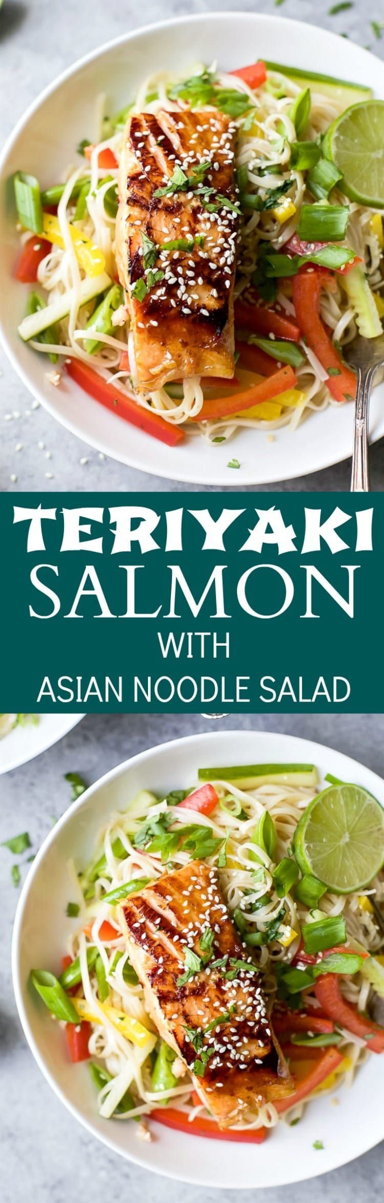 Teriyaki Salmon with Asian Noodle Salad #teriyakisalmon Teriyaki Salmon with Asian Noodle Salad #teriyakisalmon