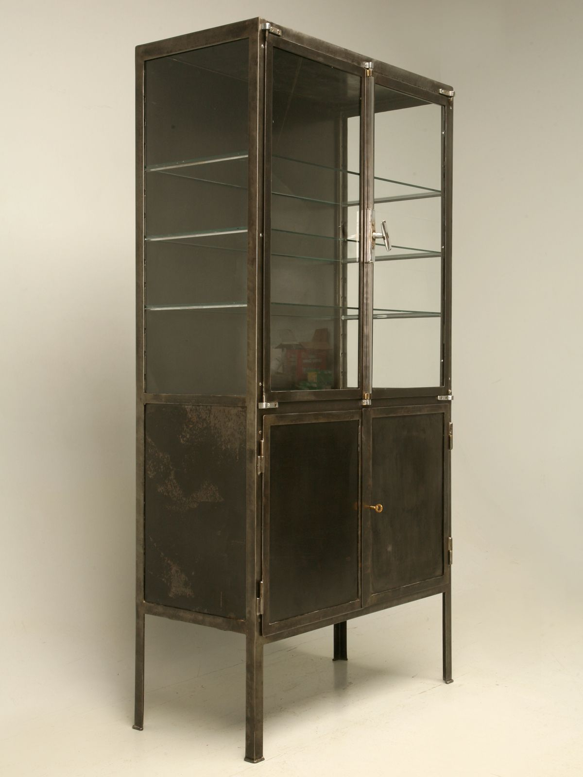 Industrial Look Vintage French Steel And Glass Cabinet Vitrines