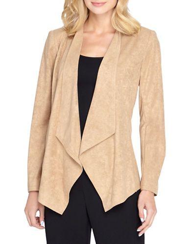 Tahari Arthur S. Levine Plus Drape Front Open Jacket Women's Camel 16W