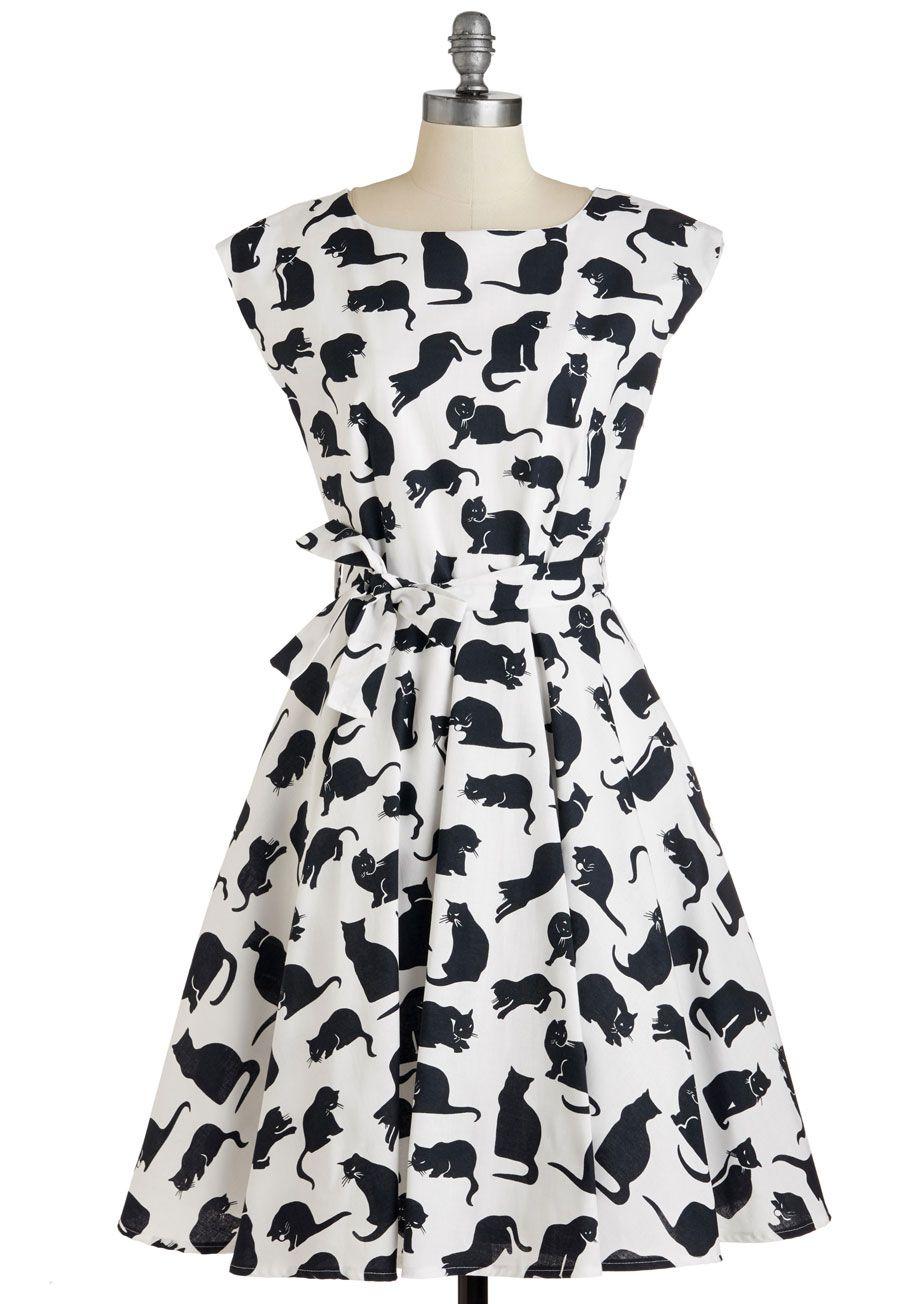 White cat red collar dress