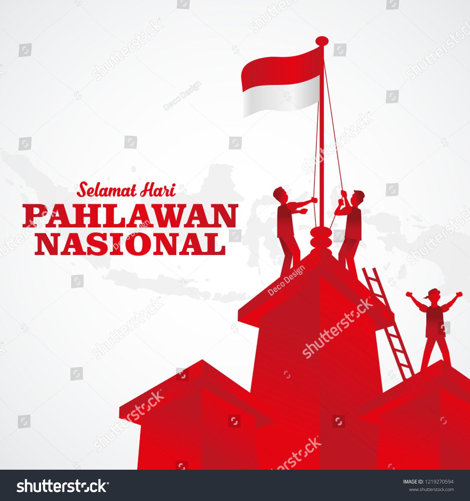Vector Illustration. Selamat Hari Pahlawan Nasional. Translation