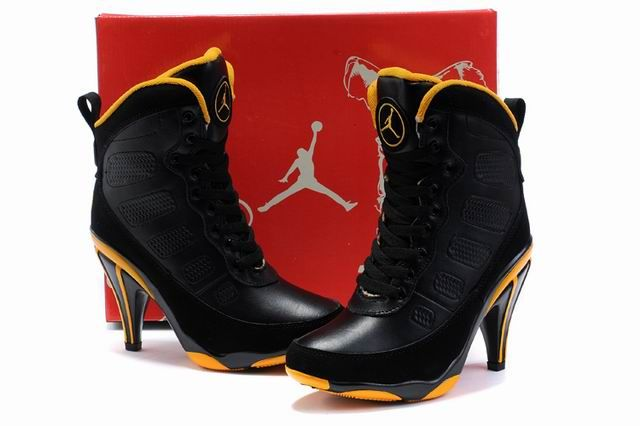 new concept db90f 61d2e Women s Shoes    Jordan Stiletto Boots    Nike Air Jordan 9 Black Yellow High  Heels Stiletto Boots - A money-saving online store of Men and women casual  ...