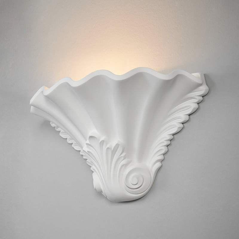 Gips Wandlamp Lennet Met Relief In Wit Wandlamp Gips Lampen