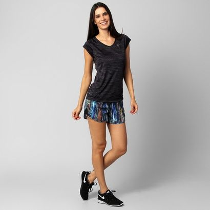 Camiseta Nike Printed Miler - Preto+Grafite
