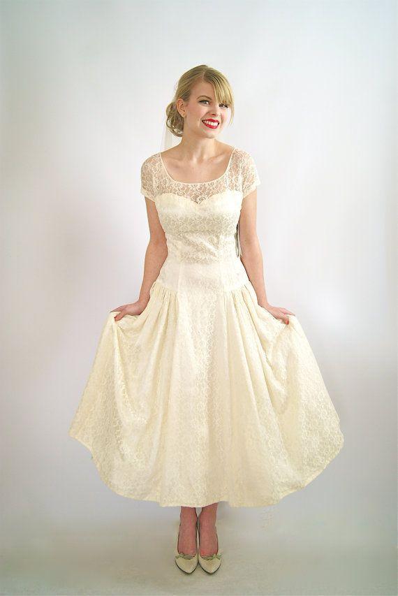 50s Wedding Dress ~ Vintage 1950s Tea Length Wedding Dress ~ Vintage ...
