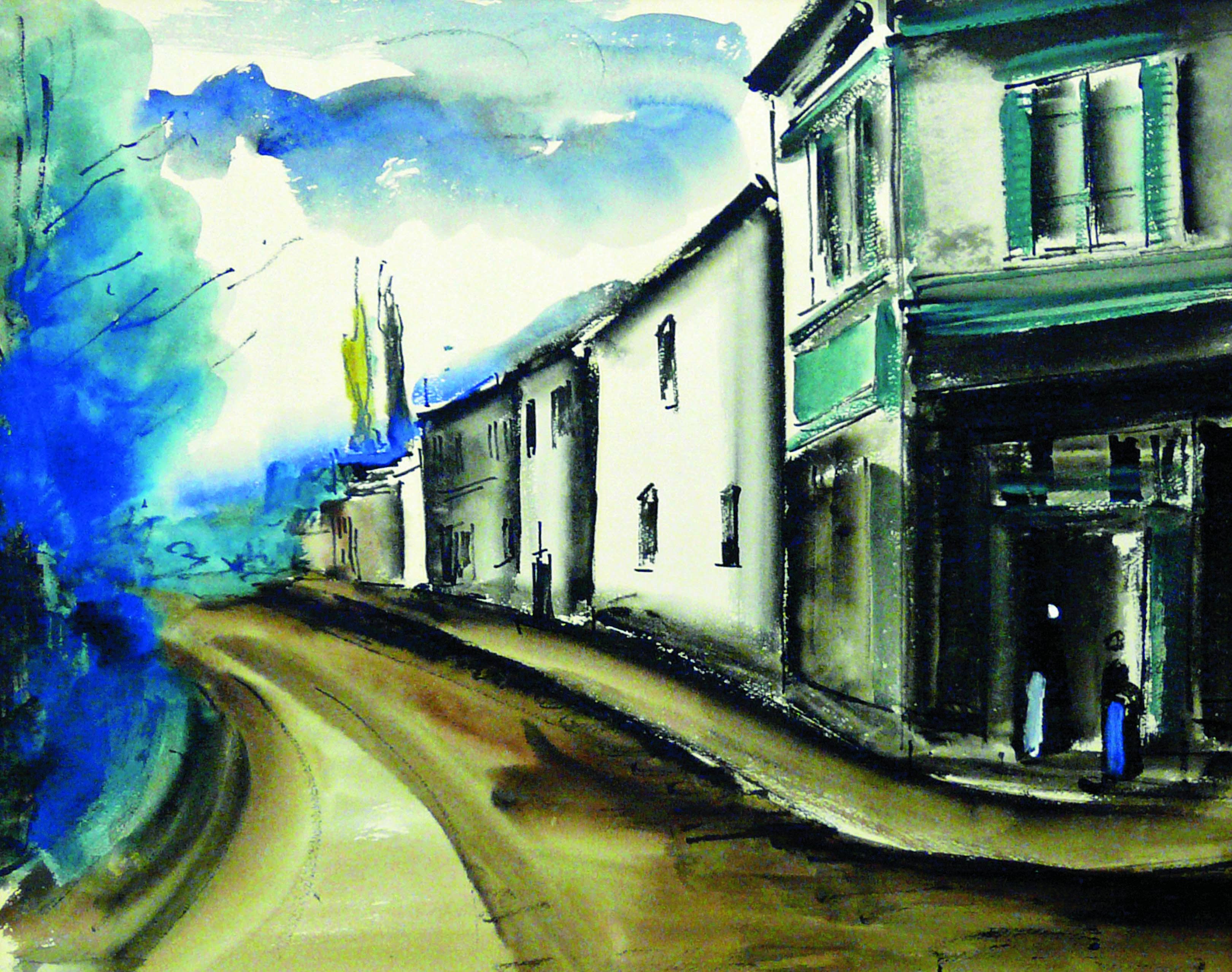 Maurice De Vlaminck Route De Village Vers 1914 Aquarelle