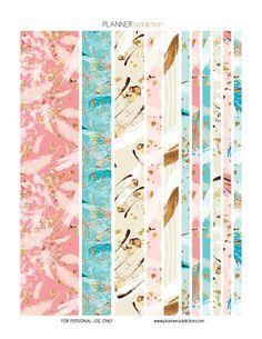 Free Printable Washi Tape Feathers Adesivos Para Impressao