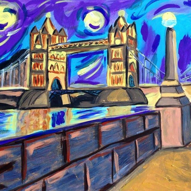 london bridge # vangogh style starry night
