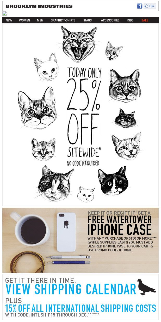 pet insurance email template  Brooklyn Industries uses animated cats Cyber Monday email to say ...