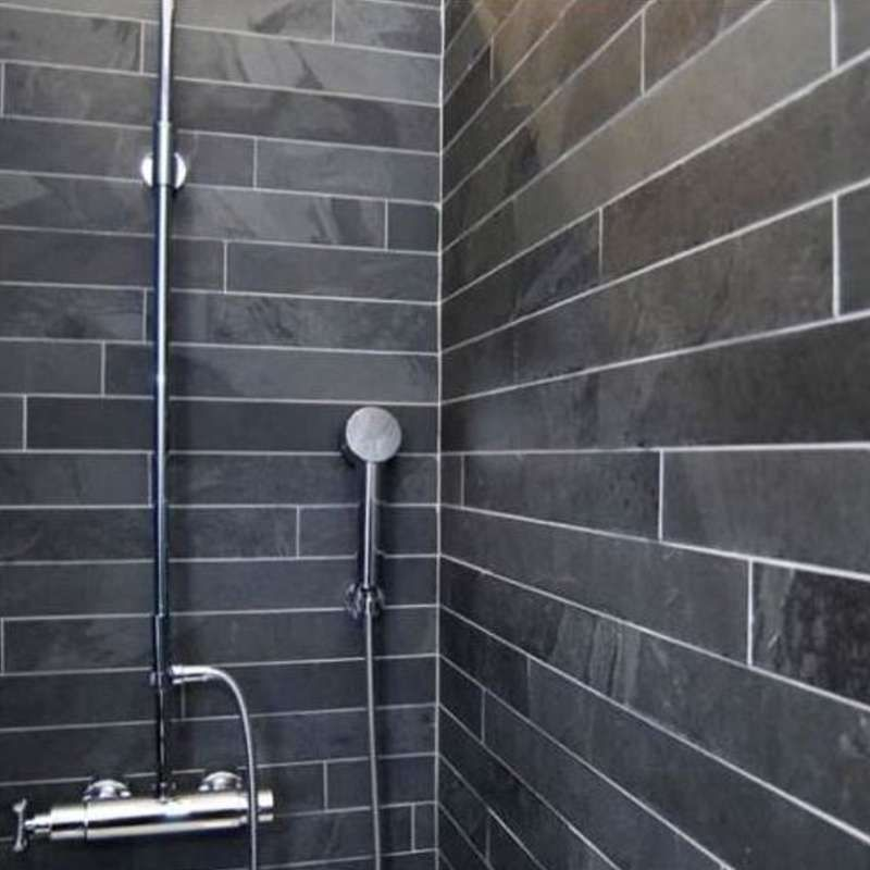 Mrs Stone Store   Brazilian Black Riven Slate Wall Tile Cladding Panel  Strips 600x60. Mrs Stone Store   Brazilian Black Riven Slate Wall Tile Cladding