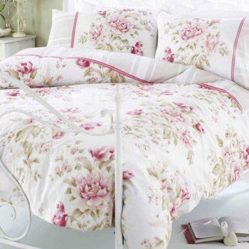 Single Rose Pink Floral Designers Shabby Chic Duvet Cover
