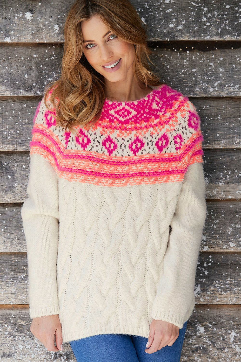 Chunky cable and fairisle jumper cable knit jumper