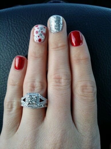 Christmas nails and beautiful wedding ring set!