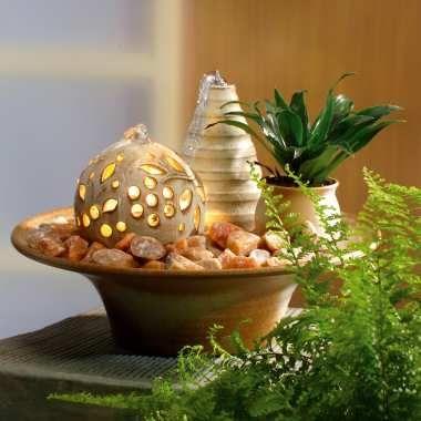 tischbrunnen mit lichtkugel und pumpe tischdeko zimmerbrunnen kleinem blumentopf fa 1 4 r eine pflanze a selber bauen