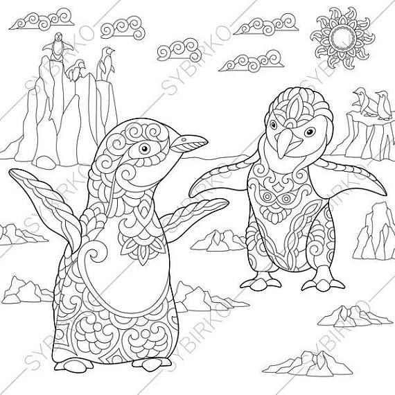 Coloring Page For Adults Digital Coloring Page Penguins Etsy Coloring Books Coloring Pages Animal Coloring Pages