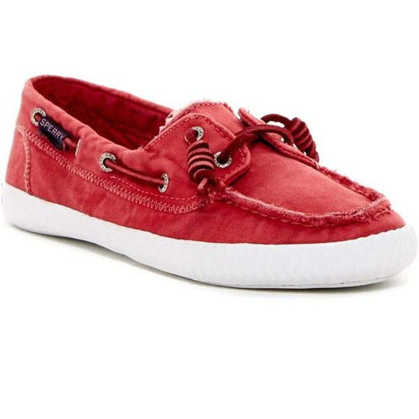 Sperry Sayel Away Washed Sneaker ($40) ❤ liked on Polyvore featuring shoes, sneakers, red, boat style shoes, boat shoe sneakers, sperry top-sider sneakers, sperry footwear and topsider shoes