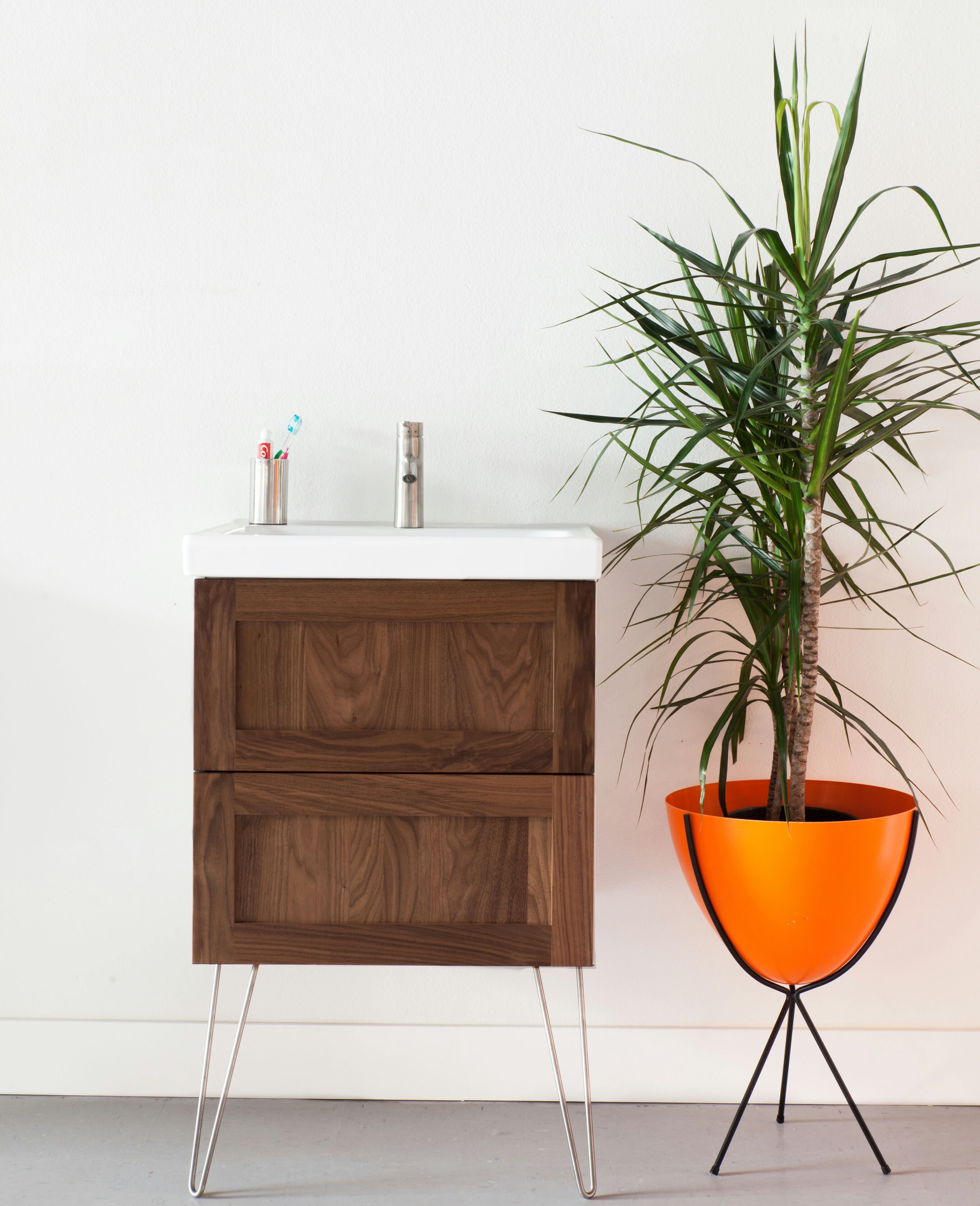 Semihandmade Walnut Shaker Ikea Godmorgon Bath Cabinet Hairpin Legs