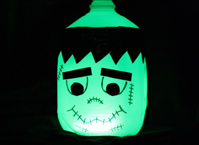 glow in the dark frankenstein milk jug camping decorationsfront porch decorationshalloween