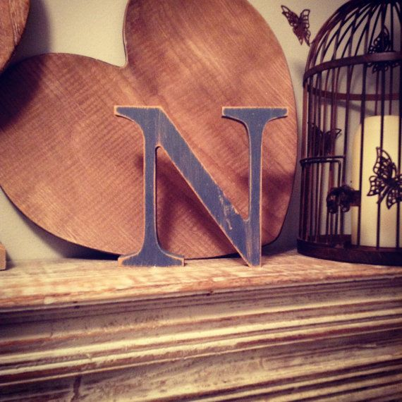 Hand painted Wooden Letter N Freestanding by LoveLettersMe