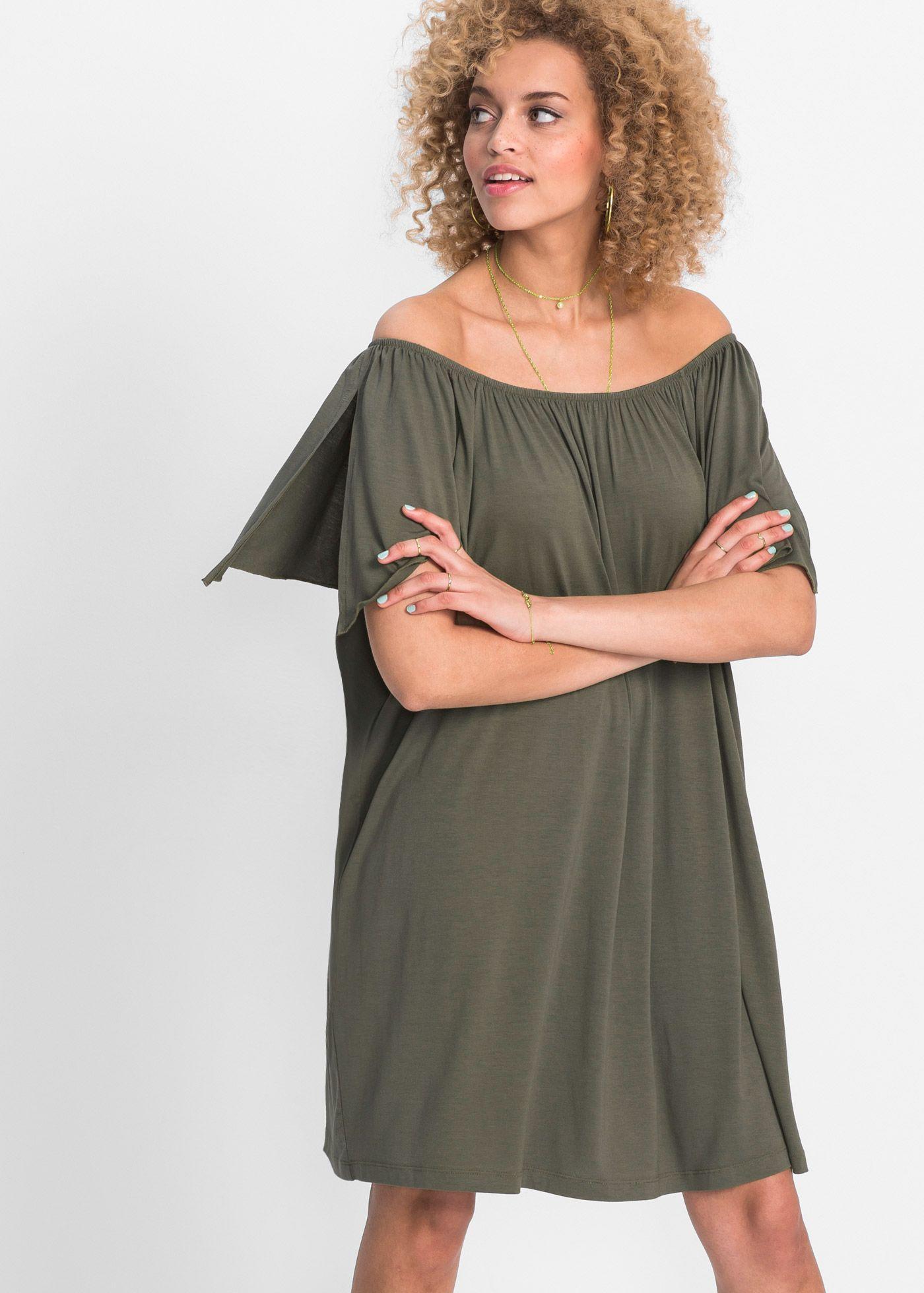 Must Have: Shirtkleid mit Carmenausschnitt in trendigem khaki