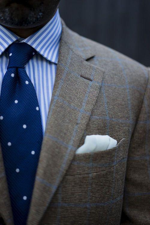 Knit Polka Dot Tie Blue Striped Shirt Window Pane Wool